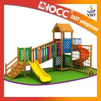 Rainbow Wooden Playground Equipment Galvanized Steel Pipe CE Approved