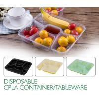 Best Disposable corn starch plates biodegradable corn starch food container, Disposable PLA Serving Divided Lunch Tray wholesale