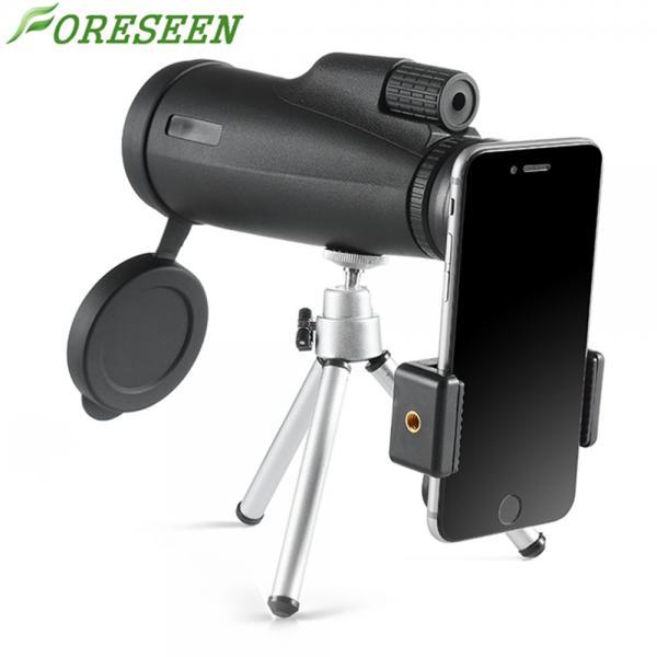 Cheap Black 12x50 Monocular Telescope , Dual Focus Monocular Waterproof With Clip Tripod for sale
