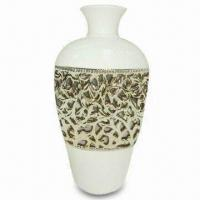 Best Ceramic Flower Vase in White Color, with Gold Plated Pierced Design wholesale