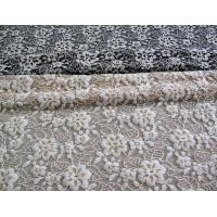 China Floral Brushed Elastic Lace Fabric Ivory Stretchable AZO Free Dyeing CY-LW0652 on sale