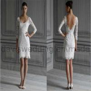 Best Long Sleeve Short Lace Wedding Dress Prom Dress (H-56) wholesale