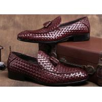 Best Pointed Moc Toe Mens Woven Leather Loafers , Burgundy Mens Dress Shoes With Tassels wholesale