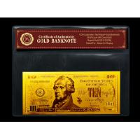 China gold plated notes $10 gold dollar bill plastic holder for present Gift on sale