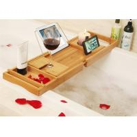 Best Bamboo Bathtub Caddy Tray Bathroom Organizer with Expandable Sides Holder for Book Glass Towel wholesale