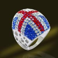 China America Flag Silver Shamballa Crystal Rings, Dimond Rings (RSL4003) on sale