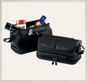 China 2011 men's black travel hanging leather toilet bag on sale
