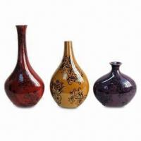 Best 3-piece Ceramic Vase Set in Different Sizes and Dull Red/Amber/Purple, with Dark Flower wholesale