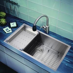 Best drop-in overmount topmount single bowl inox 304 handmade custom size 18 gauge  sink wholesale