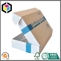 Best White Color Blue Logo Print Corrugated Cardboard Small Size Shipping Box wholesale
