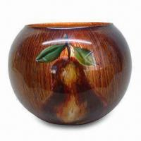 Best Candle Holder with Pear Pattern, Made of Glass, Hand-painted Finish, Includes Metal Holder wholesale