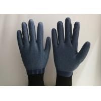 China Anti Slip Granule Black Latex Gloves , Latex Dipped Work Gloves Comfortable Hand Feeling on sale