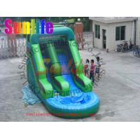 Best Attractive Fire Retardant Outdoor Inflatable Water Slides For Ground Pools Grade 0.55mm wholesale