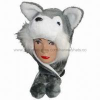 Wolf Winter Hats with White Opening Trooper, Fake Fur and Fleece Lining, Two Round Ears