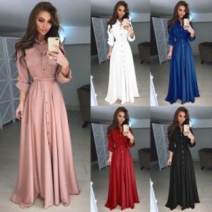 China 2018 Autumn and Winter Women Long Dress Casual Long Sleeve Slim Dress Ladies Fashion Botton Maxi Long Dress on sale