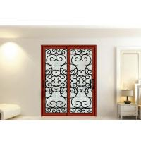 China Wrought Iron Security Doors Glass Agon Filled 22*64 inch Size Shaped Wrought Iron Exterior Doors on sale