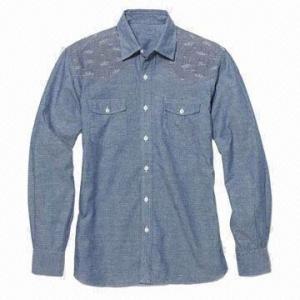 China Men's Casual Shirt, Chambery Shirt, Western Style Shirt, Long-sleeved Shirt on sale