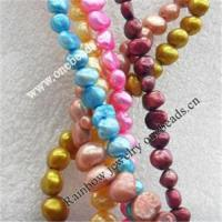Best Natural Fresh Water Pearl Beads, Dyed, Two Sides Polished, Mix colour, 6-7mm wholesale