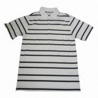China Fashionable/Comfortable Men's Black White Striped Polo Shirt, Made of 100% Cotton Striped Pique on sale