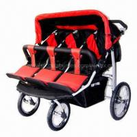 China Lightweight Triple Baby Stroller, Steel Tube with Powder Coating on sale