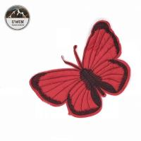 China Red Butterfly Sew On Embroidered Patches Customized Size For Hats / Shoes on sale