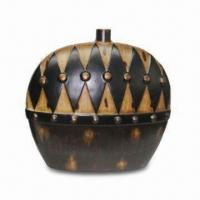 Best Ceramic Vase for Home Decorated, Wide and Flat Design, Grid Pattern on The Top of Body wholesale