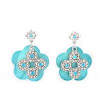 Best Silver Mother Of Pearl Stud / Drop Earrings Jewelry Carved Diamond Blue Flower wholesale