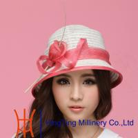 Best Red / Beige  / Black  / Yellow womens straw fedora hats for travel Occasion wholesale