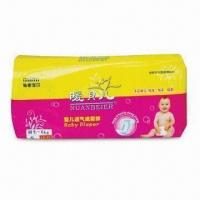 Cheap Disposable Baby Diaper, Made of Imported Fluff Pulp, Nonwoven Fabric and PE Film for sale