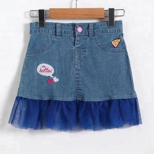 Best Adjustable Mini Baby Girls Short Denim Skirt Embroidered Customized wholesale