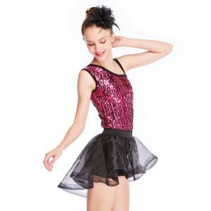Cheap Asymmetrical Neck Sequined Leotard Ballet Dance Costumes High-Low Tutu Dance for sale