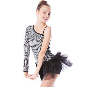 Cheap Beautiful Sequins Jazz Tap Costumes Diagonal - Neck Biketard Dance Costume for sale