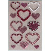 China Pearl Jewelry Rhinestone Heart Stickers Sheets For Stationery Silk Printing on sale
