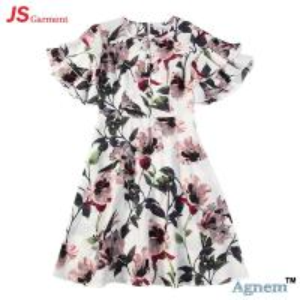Best 89D17384 Fashion Round Neck Lotus Leaf Sleeve High Waist Floral Print Linen Dress Women wholesale
