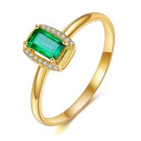Best Rectangle Yellow Gold Emerald Ring , Handmade Gemstone Jewelry For Wedding Bridal wholesale