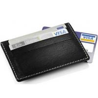 China Full Grain Business Card Holder Wallet Natural Flat Seam Slot 9.6 * 7.5 Cm on sale
