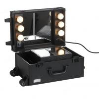 Best Leather material Make up train case rolling makeup case with lights and trolley wholesale