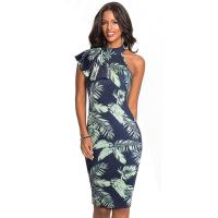 Buy cheap New Arrival Blue Tight Bodycon Dress Sleeveless Pathwork Slim Oblique Collar from wholesalers