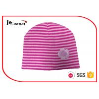 Best Girls Stripe Winter Knit Hats , Rose Red And Pink Womens Knit Hat With Flower wholesale
