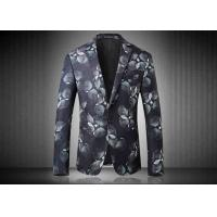 Best Two Buttons Mens Floral Printed Suit Jackets Polyester Sublimation Back Vent wholesale