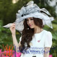 Best Normal Day Women Fancy Organza Wedding Hats With Black / White 57 CM wholesale