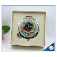 China Shinny Gifts Luxury Crystal Cosmetic mirror Round Shape Metal Pocket Mirror on sale