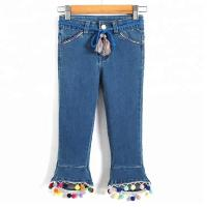 Best Light Blue Kids Denim Clothes Adjustable Waist Bell Bottom Pants For Little Girls wholesale