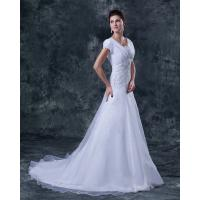 China Short Sleeve V Neck A Line Bridal Wedding Dress , Organza Ruffle Style on sale