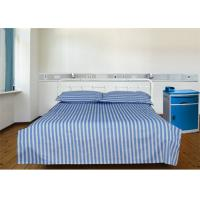 Best Blue 40S Stripe And 100% Cotton 220TC Hospital Bed Sheet / Hotel Collection Bedding Sets wholesale