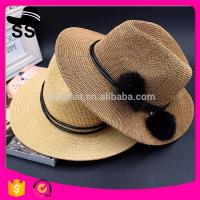 Best 2017 Fabrics Used manufactuer Panama Solid customize Cowboy Summer Straw Paper Women Hats with  Flowers  95g 12*24cm wholesale