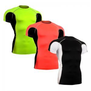 China Sun Protection Custom Rash Guard , Short Sleeve Swim Shirt Without Heavy Ink on sale