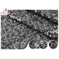 Shiny Embroidered Black Sequin Mesh Fabric For Party Evening Dress R&D Available