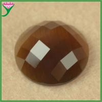Best loose coffee round shape flat bottom faceted synthetic glass cat eye semi precious stone wholesale