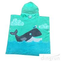 Cute Dolphin Hooded Poncho Beach Towel Reactive Printed For Girls & Boys